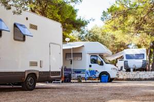 Camper vans by the seaside